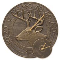 Whitehall Products Whitetail Deer Indoor/Outdoor Wall Clock and Thermometer in French Bronze