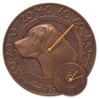 Whitehall Products Labrador Indoor/Outdoor Wall Clock and Thermometer in Antique Copper