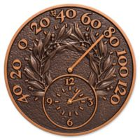 Whitehall Products Bay Leaf Indoor/Outdoor Wall Clock and Thermometer in Antique Copper