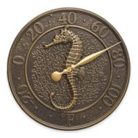 Whitehall Products Sea Life Seahorse Indoor/Outdoor Wall Thermometer in Aged Bronze