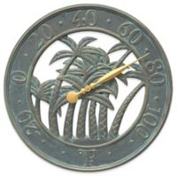 Whitehall Products Palm Indoor/Outdoor Wall Thermometer in Bronze Verdigris