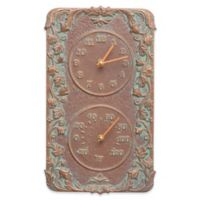 Whitehall Products Acanthus Indoor/Outdoor Wall Clock and Thermometer in Copper Verdigris