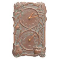 Whitehall Products Bird and Fruit Indoor/Outdoor Wall Clock and Thermometer in Copper Verdigris