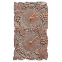 Whitehall Products Grapevine Indoor/Outdoor Wall Clock and Thermometer in Copper Verdigris