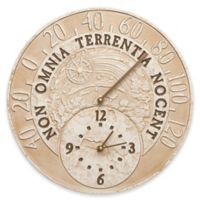 Whitehall Products Celestial Indoor/Outdoor Wall Clock and Thermometer in Limestone