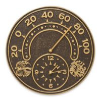 Whitehall Products Sun and Wind Indoor/Outdoor Wall Clock and Thermometer in Bronze/Gold