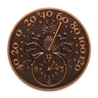 Whitehall Products Pineapple Indoor/Outdoor Wall Clock and Thermometer in Antique Copper