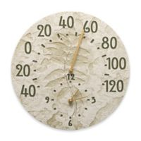 Whitehall Products Sumac Indoor/Outdoor Wall Clock and Thermometer in Green Moss