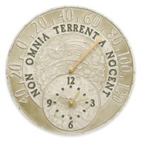 Whitehall Products Celestial Indoor/Outdoor Wall Clock and Thermometer in Green Moss