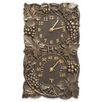 Whitehall Products Grapevine Indoor/Outdoor Wall Clock and Thermometer in French Bronze