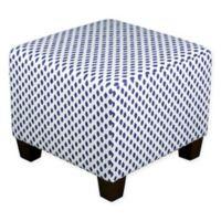 Skyline Furniture Square Ottoman in White/Blue