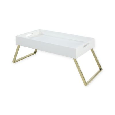 Folding Bed Tray In Gold/White