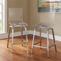 Verona Home Ithaca Swivel Counter Chair in Chrome (Set of 2)