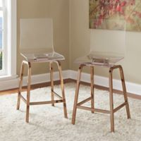 Verona Home Ithaca Swivel Counter Chair in Champagne Brass (Set of 2)