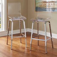 Verona Home Ithaca Swivel Bar Chair in Chrome (Set of 2)