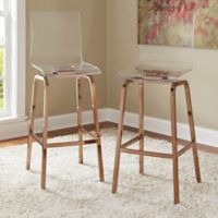 Verona Home Ithaca Swivel Bar Chair in Champagne Brass (Set of 2)
