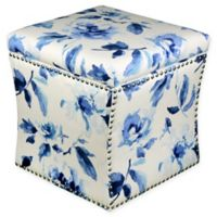 Skyline Furniture Brass Nail Button Storage Ottoman in Porcelain