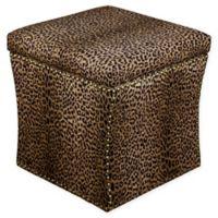 Skyline Furniture Brass Nail Button Storage Ottoman in Cheetah