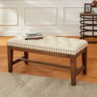 Tufted Linen 39-Inch Wood Bench with Bronze Nail Heads in Cream