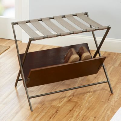 Charming Harper Luggage Rack With Shoe Storage In Gunmetal