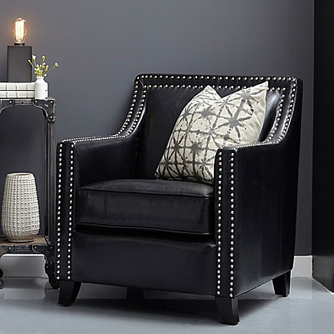 Pulaski Faux Leather Studded Swoop Accent Chair In Black