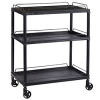 Pulaski Mirrored Tray Metal Bar Cart in Black