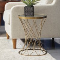 Pulaski Concave Round Accent Drum Table in Gold
