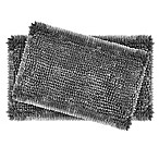Laura Ashley® Butter Chenille Bath Rugs in Charcoal (Set of 2)