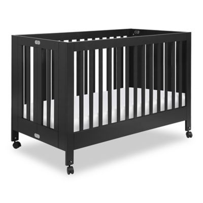 babyletto maki full size portable crib in black