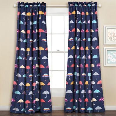Umbrella 84 Inch Room Darkening Rod Pocket Window Curtain Panel Pair In Navy Part 94