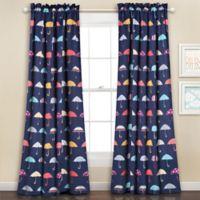 Umbrella 84-Inch Room Darkening Rod Pocket Window Curtain Panel Pair in Navy