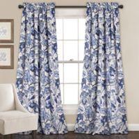 Cynthia Jacobean 84-Inch Room Darkening Rod Pocket Window Curtain Panel Pair in Blue