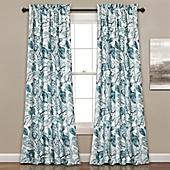Lush Decor Cynthia Jacobean 84 Inch Room Darkening Window Curtain Panel Pair In Dusty Blue