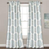 Evelyn Medallion 84-Inch Room Darkening Rod Pocket Window Curtain Panel Pair in Blue