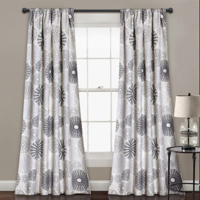 Multi Circles 84 Inch Room Darkening Rod Pocket Window Curtain Panel Pair  In Charcoal/
