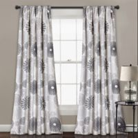 Multi Circles 84-Inch Room Darkening Rod Pocket Window Curtain Panel Pair in Charcoal/Grey
