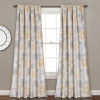 Multi Circles 84-Inch Room Darkening Rod Pocket Window Curtain Panel Pair in Yellow/Grey
