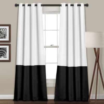 Block 84 Inch Room Darkening Grommet Window Curtain Panel Pair In White/ Black