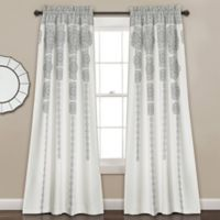 Stripe Medallion 84-Inch Room Darkening Rod Pocket Window Curtain Panel Pair in Grey