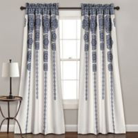 Lush Décor Stripe Medallion 84-Inch Room Darkening Window Curtain Panel Pair in Navy