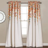 Weeping Flowers 84-Inch Room Darkening Rod Pocket Window Curtain Panel Pair in Turquoise/Orange