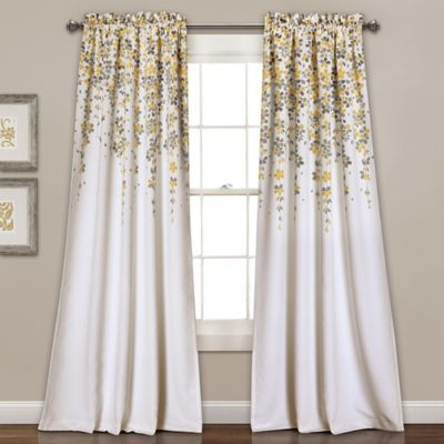 Weeping Flowers 84 Inch Room Darkening Rod Pocket Window Curtain Panel Pair In Yellow