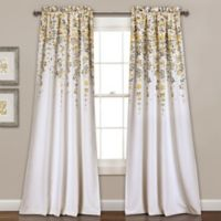 Weeping Flowers 84-Inch Room Darkening Rod Pocket Window Curtain Panel Pair in Yellow/Grey