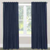Skyline Furniture Skyline Linen-Blend 63-Inch Rod Pocket/Back Tab Window Curtain Panel in Navy