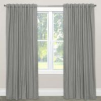 Skyline Furniture Skyline Linen-Blend 63-Inch Rod Pocket/Back Tab Window Curtain Panel in Grey