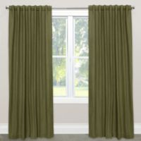 Skyline Furniture Skyline Linen-Blend 108-Inch Rod Pocket/Back Tab Window Curtain Panel in Olive