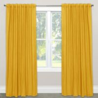 Skyline Furniture Skyline Linen-Blend 96-Inch Rod Pocket/Back Tab Window Curtain Panel in Yellow