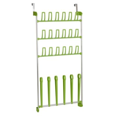 Household Essentials 12 Pair Over The Door Shoe Rack In Lime