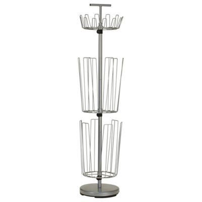 household essentials 3tier revolving boot and shoe rack in silver