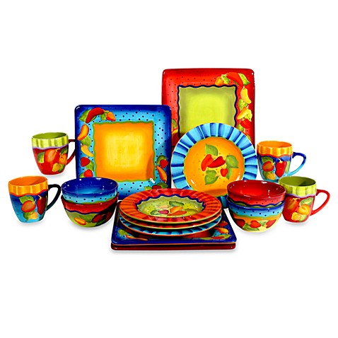 Laurie Gates 16 Piece Baja Sizzle Dinnerware Set Bed